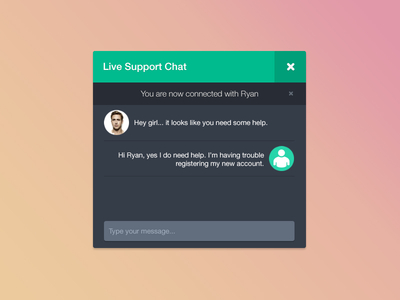 Free Live Support Chat UI Design PSD