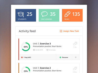 Free PSD-Activity Feed For Teacher