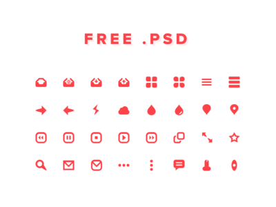 Free Red Icons PSD