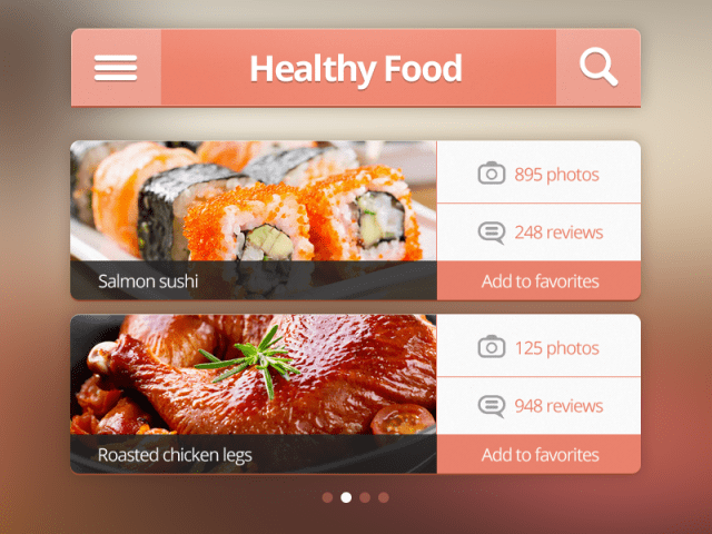 Free iPhone Ui Kit PSD-Healthy food interface