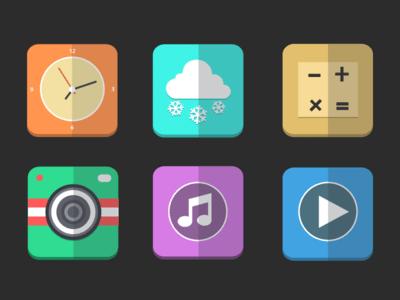 clock icon,camera icon,video icon,weater icon,ios 7 icon,music icon,flat