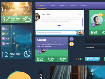 Freebie-Creative Artist Website UI Kit PSD