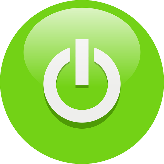 Green computer switch icon symbol with glossy desig