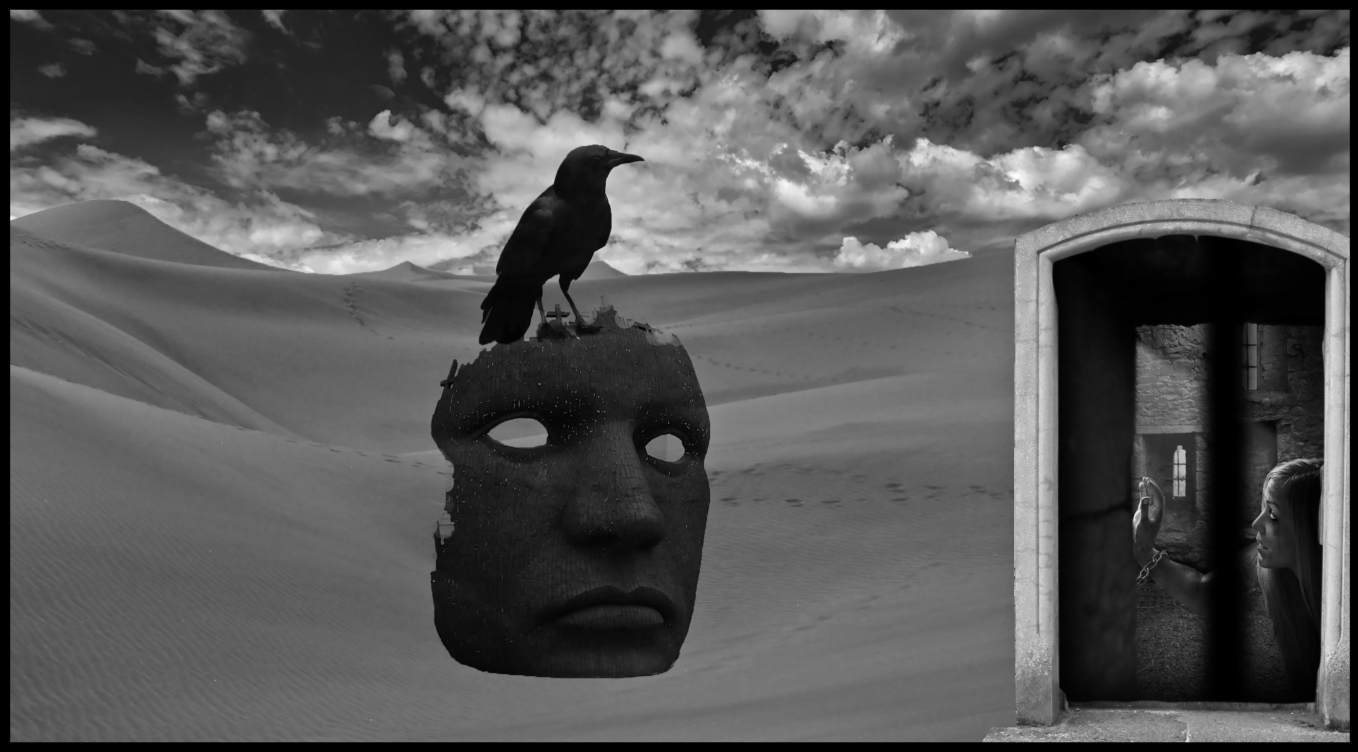 Surrealism Art Style-Desert a crow