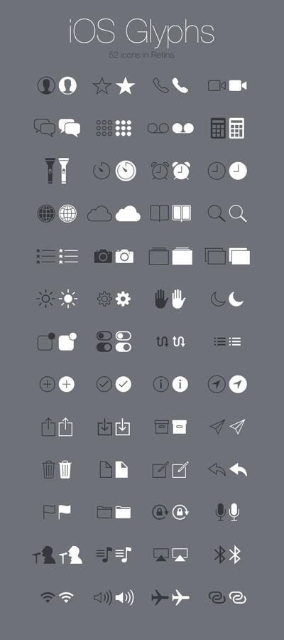 iOS iphone ipad ui- Glyphs-52 Icons in Retina