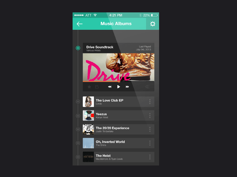 iOS,Iphone,Music Player APP UI Design PSD