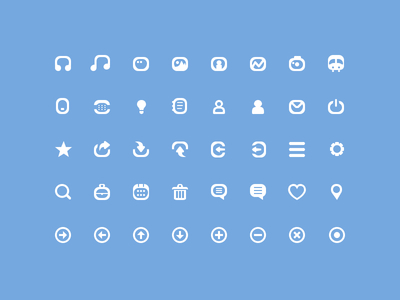 40 Simple mini Icons PSD