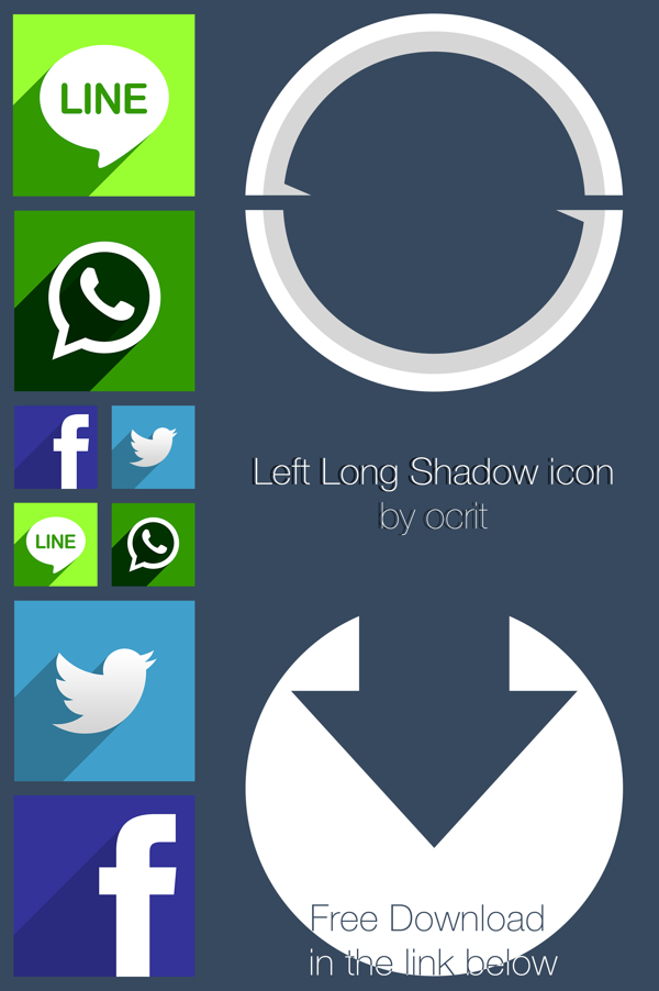 Flat Icons Design with Long Shadow PSD