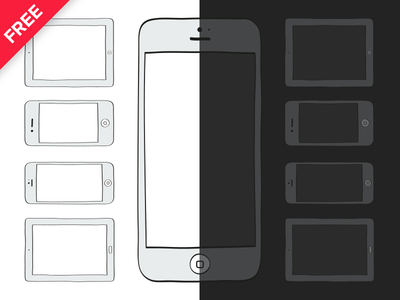 Free Mockup Template Vector-Mobile Devices illustrations