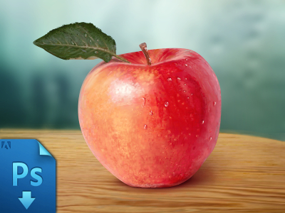 Fresh Fruit-Red Apple PSD For Free