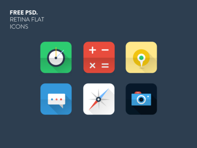 Retina Flat icons PSD For Free