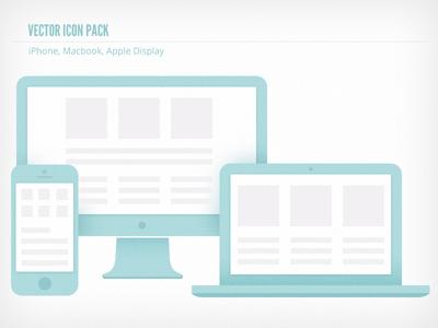 Vector icon-iphone Macbook Apple Display