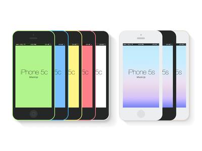 Flat iPhone 5c&5s Mockup Template PSD