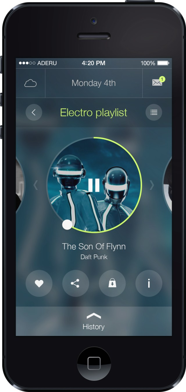 iOS 7 APP UI Music Player PSD