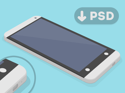 HTC One 3D Mockup Template PSD