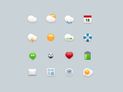 Icon Set-Weather,Calendar,Clock,Heart,Egg,Battery