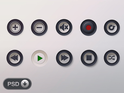 PSD-Music Player Button Icon Set