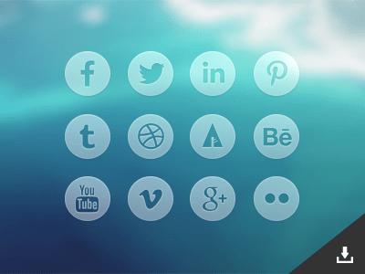 Round Transparent Social Media Icons