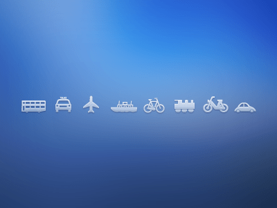 Transport Icons Car Bus Ship Motorbike Plane Bike
