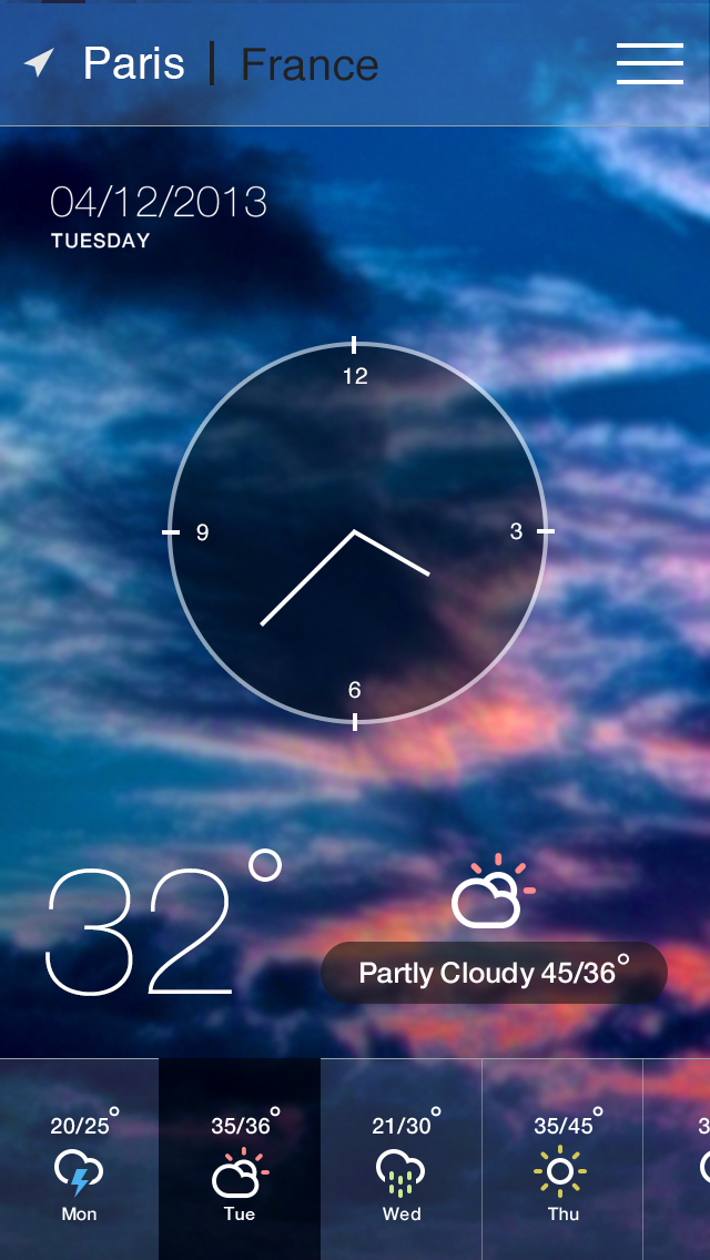 iOS 7 iphone Weather APP UI Design