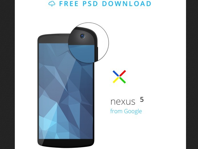 Android Mobile Nexus 5 Mockup Template PSD