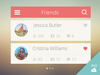 Friends List User Interface PSD