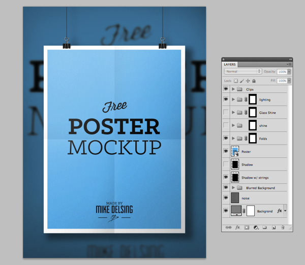 Preview Free Poster MockUp Template PSD 3