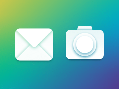 Transparent Mail & Lens Icon PSD