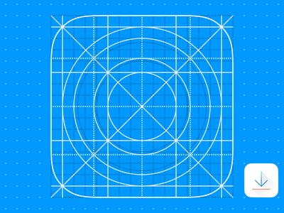 iOS 7 App Icon Grid Template Vector