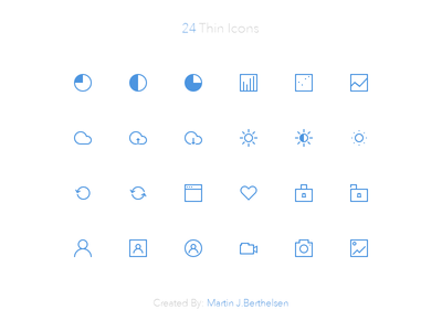 24 Free Thin Icons PSD v2