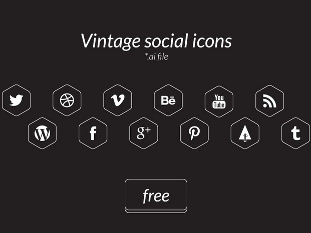 Free Vintage social icons vector ai