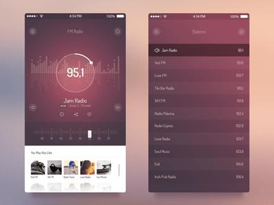 Audio Player,FM Radio Player UI PSD-iPhone iOS7 APP