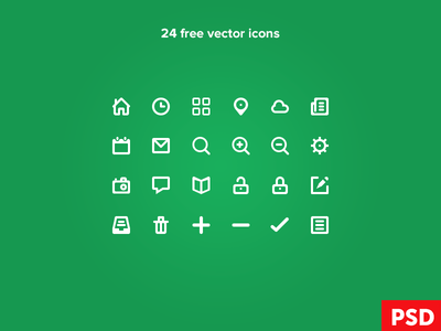 Free Icon Set (32×32 px) 24 Vector Icons PSD