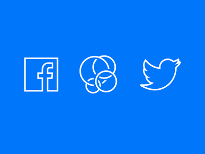 Facebook & Twitter Social Icons Vector