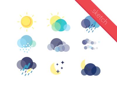 Flat Weather Icon Set (Sketch)