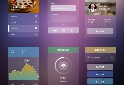 Free Transparent UI Kit PSD Download