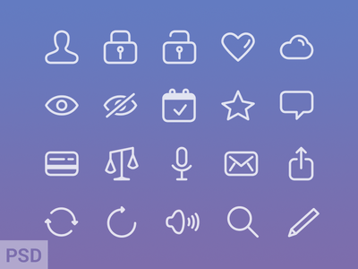 Free iOS 7 Glyphs icons PSD Download