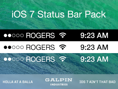 PSD iOS 7 Status Bar Pack Vector
