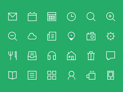 Thin Glyphs Icon Set PSD