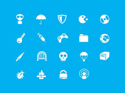 Vector icons:Mask,Key,Shield,Syringe,Umbrella