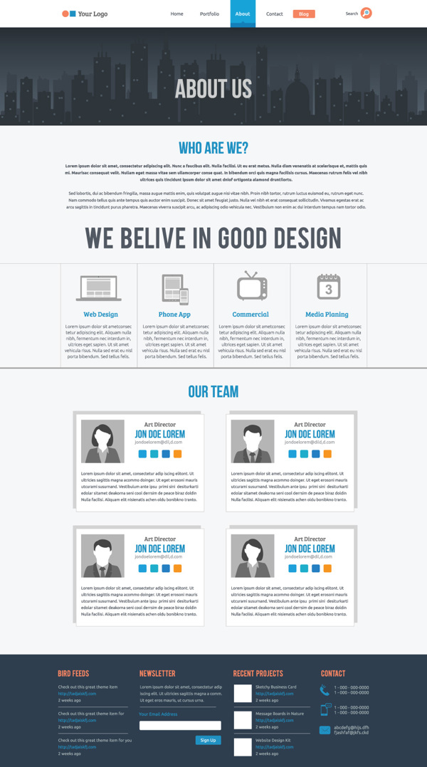 about us page template psd