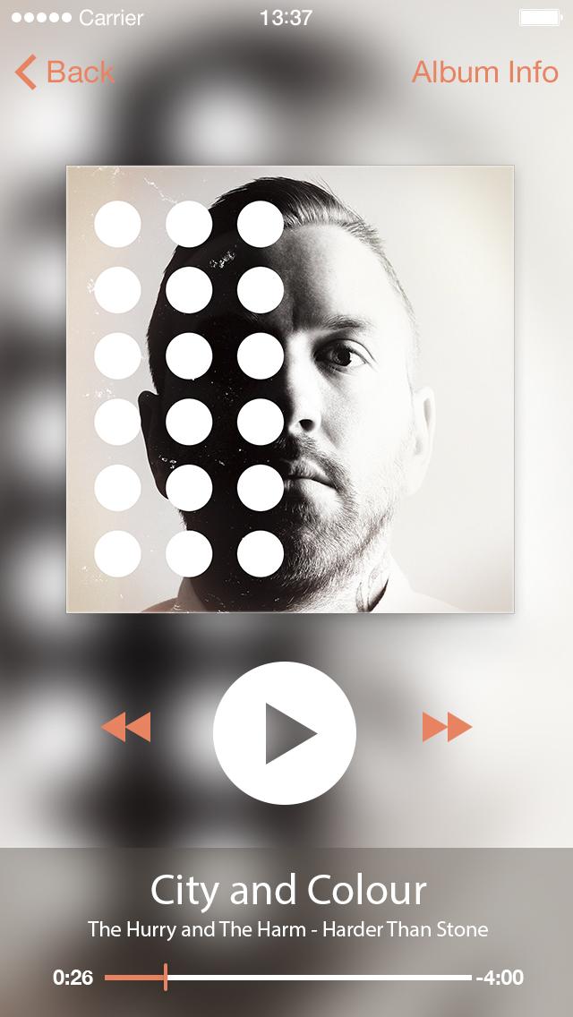 iPhone iOS Music Player PSD