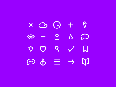 set of 16 bold icons psd vector
