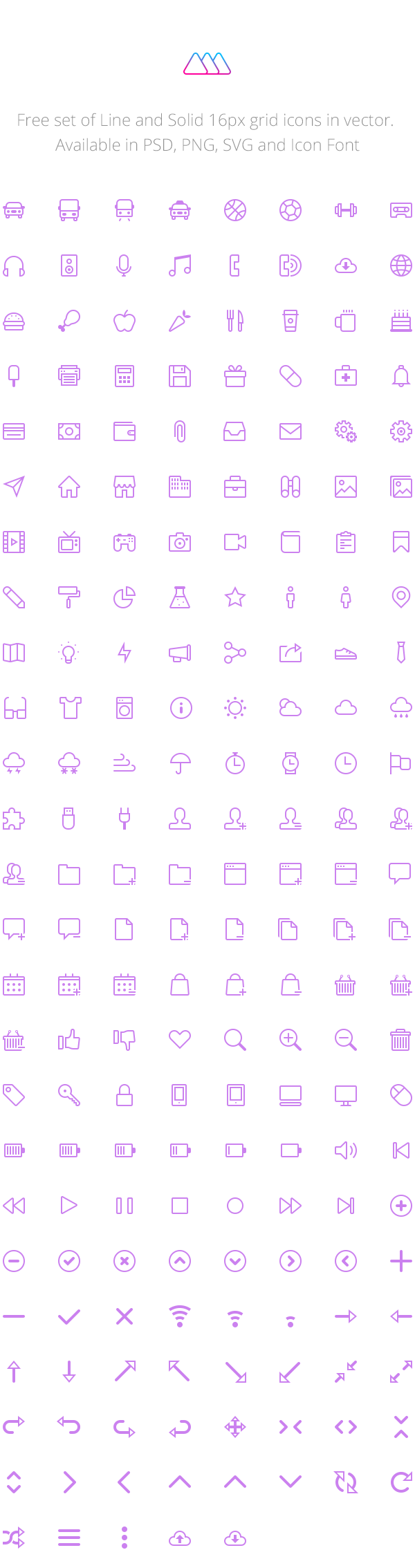 (210 Icons) Set of Line & Solid 16px Grid Icons Vol1