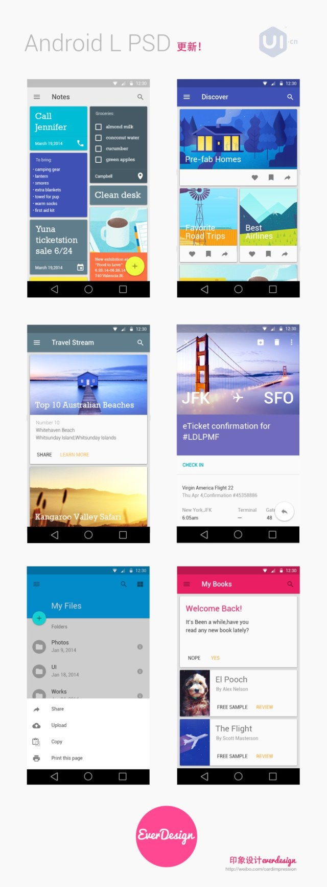 Android L 5.0 ui Psd