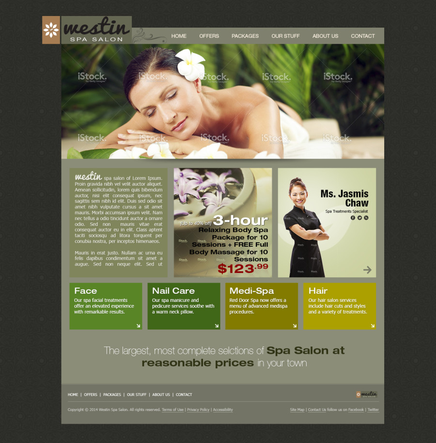 Beauty Spa Salon Website Template Free PSD