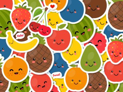 Cartoon Fruits Stickers Vector EPS