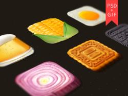 Food Icons (Mooncake, Corn, Beer, Egg Yolks, Onion)