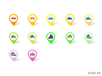 Pins Icons Set PSD