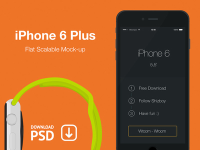 iPhone 6 Plus – Free Psd Flat Mockup